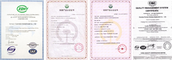 certificates of agico railroad fasteners