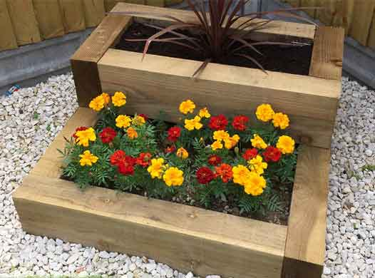 wooden sleepers as raised beds